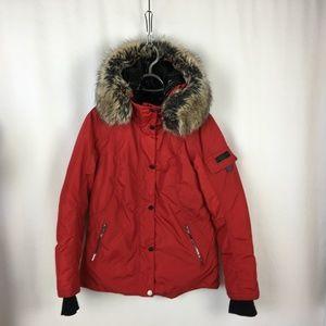 924137694a1 Obermeyer Red Brown Fur Collar Parka 4 Small Coat